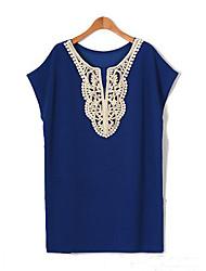 Damen Solide T-Shirt - Baumwolle Kurzarm