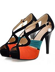 DamenKleid-Kunstleder-Stöckelabsatz-Absätze / Zehenfrei-Blau / Orange