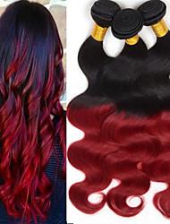 "4Pcs/Lot 8""-24"" Brazilian Virgin Hair,Mix Color 1b/RED ,Body Wave, Factory Wholesales Unprocessed Human Hair Weaves."