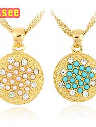 18K Golden Plated  Czech Diamond with Pearl Pendant Neckalce