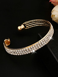 European  Style Full Crystal Charm Cuff Bangle Bracelet Fine Jewelry for Wedding Party