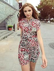 Vestidos ( Rayón )- Casual Soporte Manga Corta para Mujer