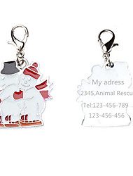 Personalized Free Engraving Double Snowman Style Dog ID Tag for Pet