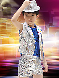 Jazz Performance Outfits Children's Performance/Training Polyester Sequins Outfit Blue/Yellow Kids Dance Costumes