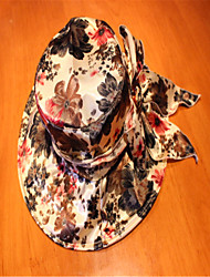 15 Han Edition Eaves Flower Cloth Sun Hat Folding Beach Hat Green Brown