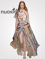 nuoxin® Women's Round  Collar Sleeveless Print Short Vest +Open Fork The Big Pendulu Silk Long Skirt Suits And Separates