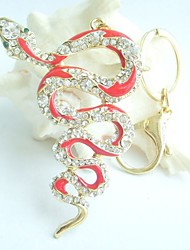 """3.15"""" Unique Snake Key Chain With Clear Rhinestone Crystals"""