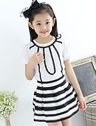 Girl's Black And White Striped Skirt Suit