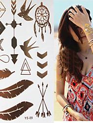 1 pc - Séries animales/Autres - Gris/Doré/Multicolore/Bronze - Motif - 20.2x15.1cm(8.0*5.9in) - en Papier - Tatouages Autocollants