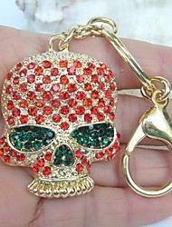Unique Gothic Skull Key Chain With Red Rhinestone Crystals