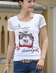 V-hals - Katoen/Spandex - Bloem - Vrouwen - T-shirt - Korte mouw