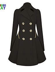 ZAY Women's Vintage Double Breasted Lapel Long Sleeve Long Trench Coat