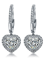 Sterling Silver Heart Dangle Earrings for Women 1.5CT/Piece SONA Simulate Diamond Earrings Engagement Platinum Plated