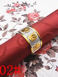 6pcs ouro zinco subiu anel de guardanapo