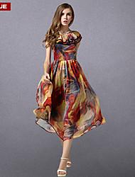 vestido de la impresión de las mujeres suyue® vendimia de la moda clásica de la gasa delgada