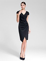 Cocktail Party Dress - Black Sheath/Column V-neck Asymmetrical Polyester