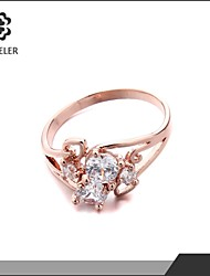 Sjeweler Girls Fashion Style Engagement Rose Gold Plated Zircon Ring