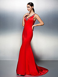 TS Couture® Formal Evening Dress Plus Size / Petite Trumpet / Mermaid V-neck Court Train Satin with Beading / Crystal Detailing
