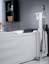 Bathtub Faucet Contemporary Waterfall/Handshower Included/Floor Standing Brass Chrome