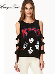 Ärmlös T-shirt Kvinnors Polyester