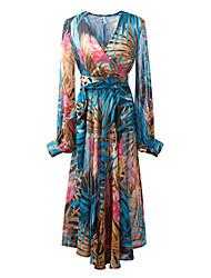 Bohemian chiffon lantern sleeve full-skirted dress sunscreen long-sleeved v-neck dress