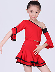 Latin Dance Performance Outfits Children's Performance/Training Polyester Pleated Outfit Blue/Fuchsia/Red/White/Yellow Kids Dance Costumes