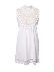 SHANGYI  Women's   European  And American Trade New Sleeveless Mini-Dress Sexy Openwork  Flower Skirt