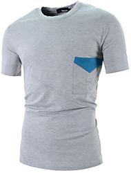 Men's Casual Big Pocket Design Hit Color Short Sleeve Slim T-Shirts