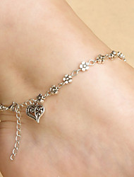 Heart Flower Chain Anklet Decorative Accents for Shoes One Piece
