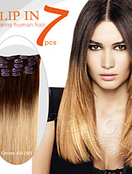 "7 Pieces 18"" 100g Clip in Ty.Hermenlisa 100% Peruvian Remy Human Hair Ombre Color"