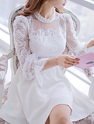 DABUWAWA Women's Lace/Party Stand Long Sleeve Ruffles Dresses (Elastic/Polyester/Viscose)
