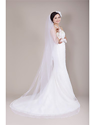 Wedding Veil One-tier Chapel Veils Ribbon Edge Tulle White Ivory Beige