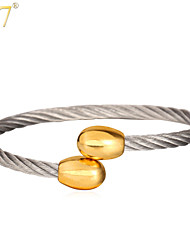 U7® Unisex Fancy Stainless Steel 18K Real Gold Plated Natural Germanium Magnetic Stone Cuff Bracelet