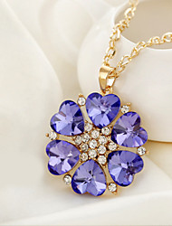 Charm Heart Flower Vintage/Party/Casual Alloy/Cubic Zirconia Pendant Necklace