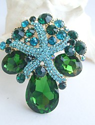 Women Accessories Gold-tone Turquoise Green Rhinestone Crystal Starfish Brooch Bouquet Art Deco Women Jewelry Mermaid