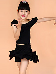 Shall We Latin Dance Outfits Children Performance Training Top Skirt
