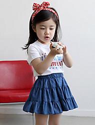 Girl's Summer/Spring/Fall Micro-elastic Medium Skirts (Cotton/Denim)