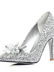 Women's Shoes Glitter Stiletto Heel Heels/Pointed Toe Pumps/Heels Wedding/Dress Silver