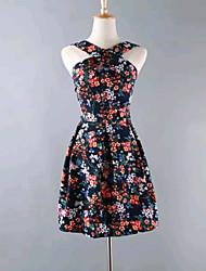 Women's Fashion Summer Sexy/Flower Print Backless Micro-elastic Sleeveless Knee-length Halter Dress (Cotton Blends)