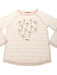 Girl's 100% cotton  pink stripe Sports shirt