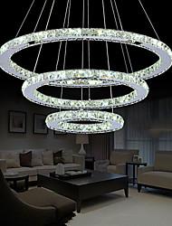 LED Crystal Pendant Chandelier Lighting Lights Transparent Crystal Round 3 Rings Cool White Fixtures D305070CM