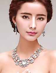 Gorgeous  Rhinestones/Titanium Wedding Necklace with Earings