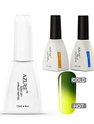 Azure 3 Pcs/Lot Soak Off LED UV Nail Gel Polish Color Gel Manicure Nail Art Gel(#9+BASE+TOP)
