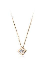 Small square collar bone chain zircon necklace