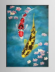 Oil Painting Fish Paintings Abstract Hand Painted Canvas with Stretched Framed