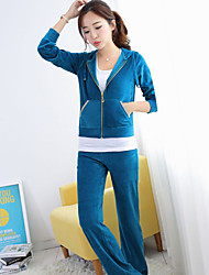Women's Casual Micro Elastic Cotton Blends Long Sleeve Suit (Coat & Vest & Pants )