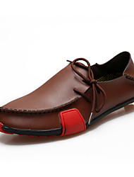Для мужчин обувь Кожа Весна Лето Осень Удобная обувь Мокасины и Свитер Шнуровка Назначение Повседневные Серый Черный и белый Коричневый