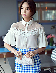 DABUWAWA Women's Lace/Work Tailored Collar Short Sleeve Applique Tops & Blouses (Mesh/Nylon/Polyester)
