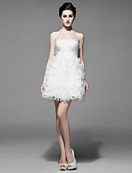 A-line Asymmetrical Wedding Dress -Strapless Satin
