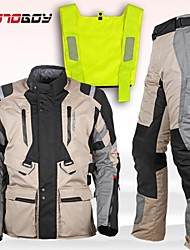 Motoboy New Touring Adventure Motorcycle Protective 3 Layer Jacket&Pant Suit Visible Vest and Waterproof and Warm Liner